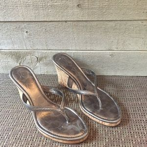 Coach Lannie Wedge Silver Sandals 7.5